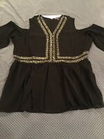 Roaman's Black Silver Beaded Open Shoulder Blouse Plus Size 20W