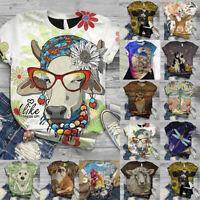 Women Summer Short Sleeve T Shirt Blouse Ladies 3D Animal Printed Casual Tops 22