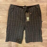 Fenchurch Simon Plaid Check Chino Shorts Charcoal Pink New Skate Streetwear 00's