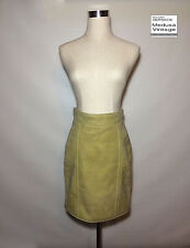 GIANNI VERSACE VINTAGE '97 LEATHER SUEDE SKIRT MINI ABOVE KNEE BEIGE RARE ITALY