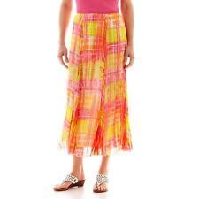 Lark Lane-Garden Party Long Plaid Broomstick skirt, SIZE: 12,Orange,pink,Yellow