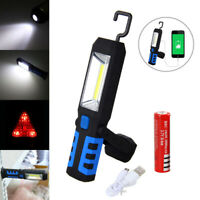 Magnetic LED COB Inspection Lamp Work Light Flexible Hand Torch Hook w/ Battery