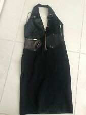 Ralph lauren collection Black Bodycon Leather Trim Dress Size M,10