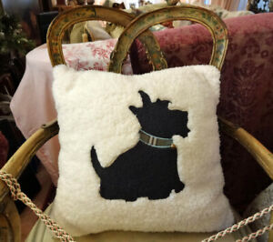White Wooly  Scottish Terrier Large Decorator Throw Pillow Scottie Collectible