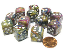 Festive 16mm D6 Chessex Dice Block (12 Dice) - Carousel with White Pips