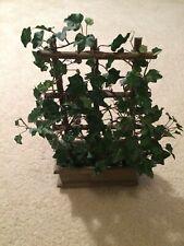 "15"" Artificial Ivy On Wooden Trellis & Box Planter"