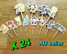 24 X JUNGLE ANIMALS CUPCAKE TOPPERS PICKS ANIMAL THEME PARTY