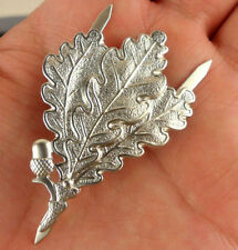 WW2 German Army Sniper Oak Leaf Metal Cap Badge Color Silvery