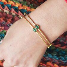 Emerald Gemstone Sleek Bangle 18K Yellow Gold Bracelet Fine Womens Gift Jewelry