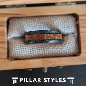 Whiskey Barrel Ring Hammered Wedding Band Tungsten Mens Ring Black Wood Ring