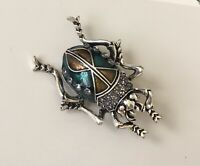 Unique Insect scarab large Pin brooch  In Enamel on Metal