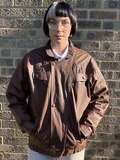 Vintage brown leather bomber style harrington jacket