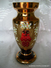 "CZECH BOHEMIAN MADESK GOLD HIGH ENAMEL GARNET RED CRYSTAL GLASS VASE 12"" NIB"