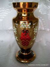 "CZECH BOHEMIAN MADESK GOLD HIGH ENAMEL GARNET RED CRYSTAL GLASS VASE 12"" NIB"