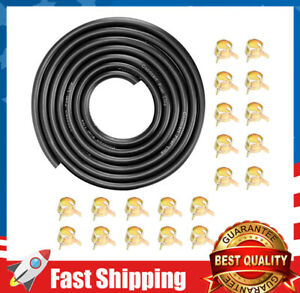 """9.85-Foot Length  1/4 Inch ID Fuel Line +20pcs 2/5"""" ID Hose Clamps"""