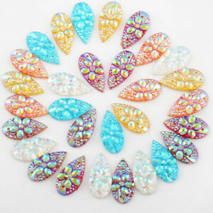 40Pcs 10*20mm(0.39*0.79 in) Drop Resin Rhinestone Bags/Clothes Decoration 2 Hole