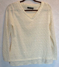 APT.9 Long Sleeve Sequined Popcorn Knit Top Size PL