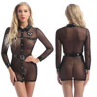 Women Police Dress Cop Uniform Cosplay Dress Mesh Sheer Costume Sexy Lingerie