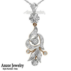 RUSSIAN VINTAGE STYLE DIAMOND PENDANT IN 18K ROSE AND WHITE GOLD #P936.