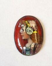 Antique Enamel Portrait Miniature On Copper Of A Lady 8mm X 11mm