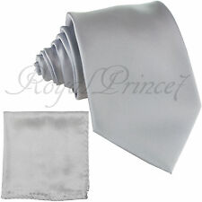 Clearance Sale Men's Solid Neck Tie Set Necktie And Pocket Square Hanky Set