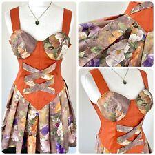 Mini Vestido de Colección Marrón Boho cottagecore Floral Sujetador Corsé Plisada Fit llamarada 10 12