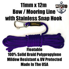 Docking Braid Dock Rope 11mm x 12.1m / 40ft Polyproplylene Bow Line PURPLE!