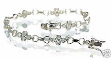 "Solid 925 Sterling Silver Bezel Set Clear CZ Tennis Bracelet 7-1/2"" L '"