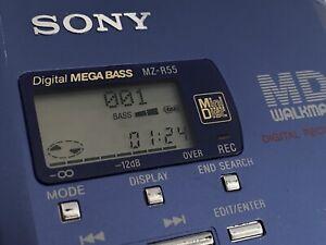 SONY MZ-R55 MINIDISC PLAYER RECORDER, original accessories, discs, optical cable