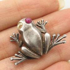 Antq 925 Sterling Silver Real Ruby Gemstone Frog Pin Brooch
