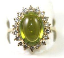Ovalado Cabujón Verde Peridoto & Diamante Halo Anillo Solitario 14k Oro Amarillo