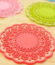 US 6 PCS Cute Sweet Semitransparent Crochet Lace Cup Mat Silicone Rubber Coaster
