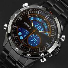 INFANTRY Mens LED Digital Quartz Wrist Watch Chronograph Black Stainless Steel