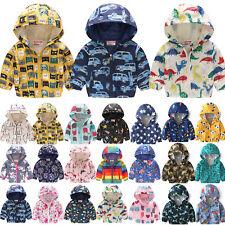 Toddler Kids Boys Girls Hooded Wind Jacket Cartoon Hoodie Waterproof Winter Coat