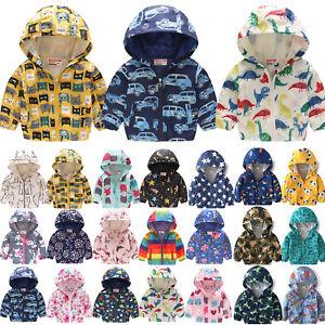 Toddler Kids Boys Girls Wind Jacket Cartoon Hoodie Waterproof Warm Coats UK