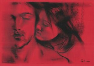 original drawing A4 308GZ art samovar pastel Modern love man and woman Signed