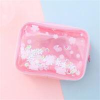 Cherry Blossoms Waterproof Quicksand Cosmetic Bag Net Portable Storage Bag SH