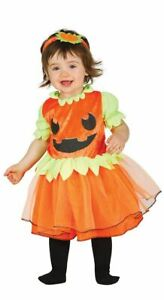 Toddlers Girls Cute Pumpkin Halloween Fancy Dress Costume & Headband Infants