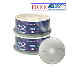 50 Pack Ridata 4X BD-R BDR 25GB Blue Blu-ray Logo Recordable Blank Media Disc