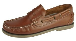 MENS DECK SHOES DEK LEATHER TAN BROWN BOAT LOAFERS SLIP-ON SIZE 7 TO 12