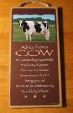 Advice From A Cow Farm Sign - Be Udderly Brilliant Country Dairy Home Decor New