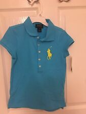 BNWT Ralph Lauren Big Pony Turquoise Blue TShirt Girls 7