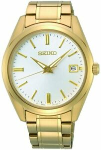Seiko Men's Watch with Gold Stainless Steel Bracelet SUR314P1