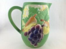 """Vintage Ceramic Green Basket of Fruit Pitcher with Grapes, Pears, etc. 7"""" tall"""