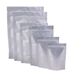 New Heavy Duty Silver Stand Up Mylar QuickQlick™ Resealable Bags Different Sizes
