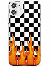 Designer Checkered Fire Slim TPU Case for iPhone Pattern  Check Fire Flames