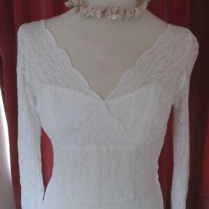 Vintage  60s Lace White Wedding Dress Semi Sheer, Long Pointed Sleeve's