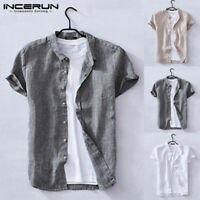 Summer Mens Cotton Linen T-shirt Tops Short Sleeve Tee Casual Blouse Holiday Tee