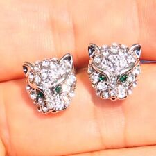 Silver Leopard Head Rhinestone Crystal Earrings Animal Stud Ear Jaguar Cat