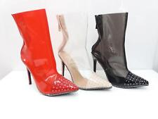 NEW LADIES WOMEN STILETTO CLEAR PERSPEX STUDDED ANKLE BOOT SHOES 3-8